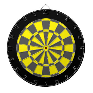 Dart Board: Yellow, Charcoal Gray, And Black Dartboard
