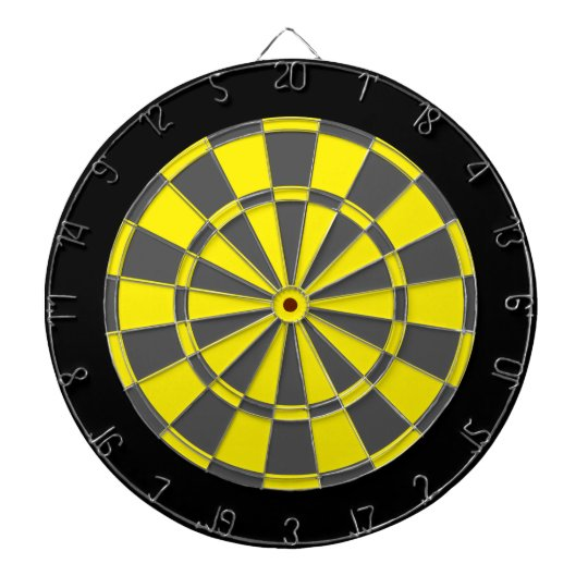 Dart Board: Yellow, Charcoal Grey, And Black Dartboard