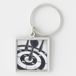 Dart in Bulls Eye Silver-Colored Square Key Ring