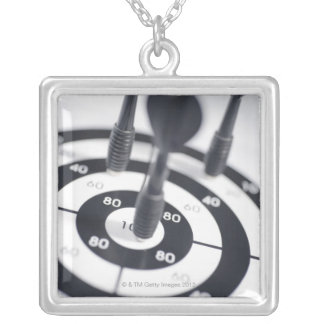 Dart in Bulls Eye Silver Plated Necklace
