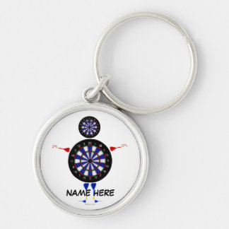 Dart Player Fun Silver-Colored Round Key Ring
