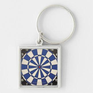 Dartboard 2 Silver-Colored square key ring