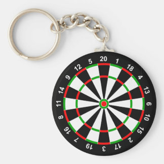 Dartboard Basic Round Button Key Ring