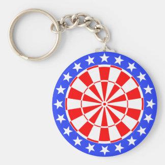 Dartboard USA Flag Basic Round Button Key Ring