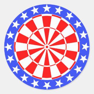 Dartboard USA Flag Round Sticker