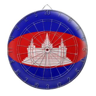 Dartboard with 6 darts Cambodia Cambodian Flag