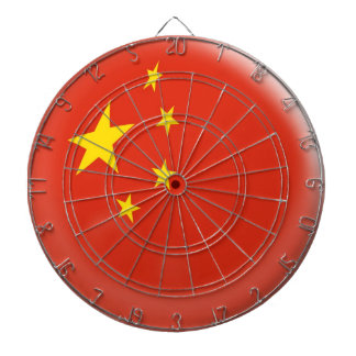 Dartboard with 6 darts China Chinese flag