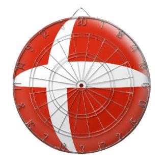 Dartboard with 6 darts Denmark Danish Flag