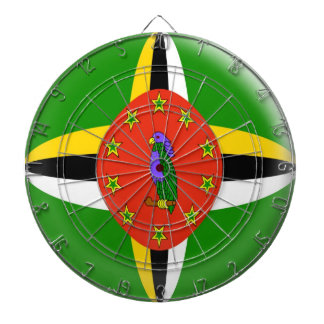 Dartboard with 6 darts Dominica flag