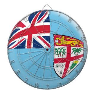 Dartboard with 6 darts Fiji flag
