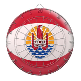 Dartboard with 6 darts French Polynesia flag