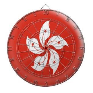 Dartboard with 6 darts Hong Kong flag