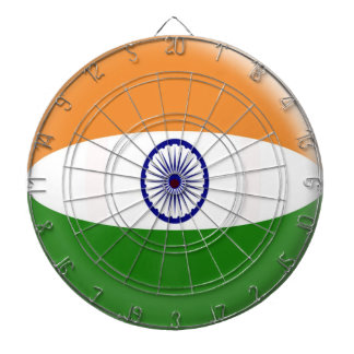 Dartboard with 6 darts India flag