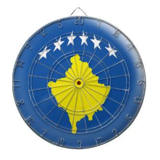 Dartboard with 6 darts Kosovo Kosovan flag