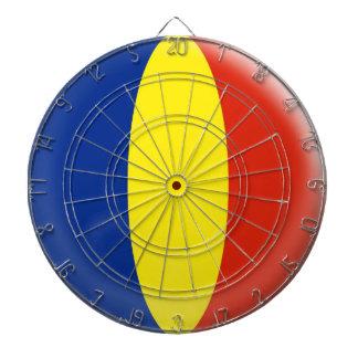 Dartboard with 6 darts Romania Romanian flag