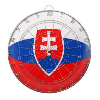 Dartboard with 6 darts Slovakia Slovak flag