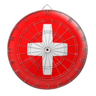 Dartboard with 6 darts Switzerland Swiss flag