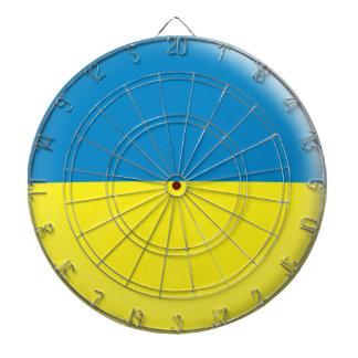 Dartboard with 6 darts Ukraine flag