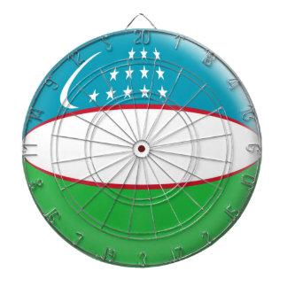 Dartboard with 6 darts Uzbekistan flag