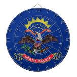 Dartboard with Flag of North Dakota, USA