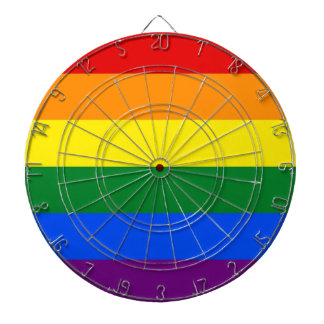 Dartboard with LGBT Rainbow Pride Flag