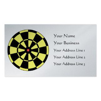 Dartboard Yellow Black Red Bullseye Platinum Card Double-Sided Standard Business Cards (Pack Of 100)
