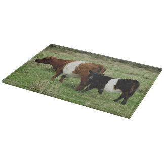 Dartmoor Belted Galloway Cow And Calf Cutting Board