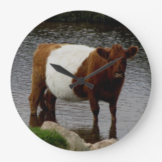 Dartmoor Belted Galloway Cow Standing River Large Clock