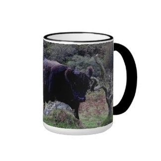 Dartmoor Black Galloway Cow Scratching On Tree Mug