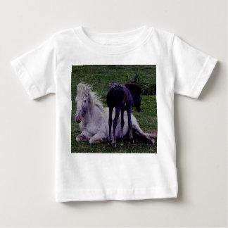 Dartmoor Grey Pony Mare Resting Foal Standing Baby T-Shirt