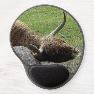 Dartmoor Highland Cow Rubbing On Rock Gel Mouse Mat