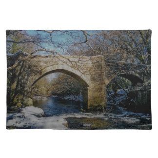 Dartmoor Holne New Bridge River Dart Winter Scene Placemat