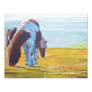 Dartmoor miniature ponies painting misty landscape 11 cm x 14 cm invitation card