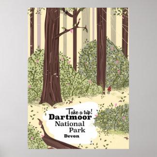 Dartmoor national park, Devon vintage travel Poster