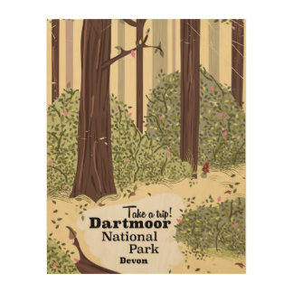 Dartmoor national park, Devon vintage travel Wood Prints