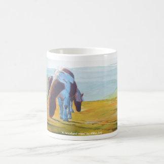 Dartmoor Ponies Misty Landscape painting Mugs
