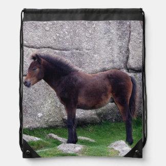 Dartmoor Pony Foal At Bone Hill Rocks Drawstring Bag