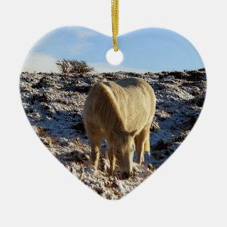 Dartmoor Pony Grazeing In Snow Christmas Ornament
