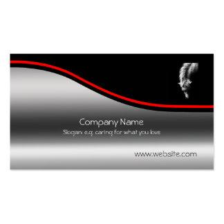 Dartmoor Pony Portrait, red swoosh, metallic-look Pack Of Standard Business Cards