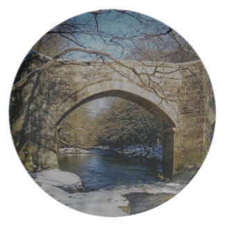 Dartmoor River Dart Holne New Bridge Winter Plate