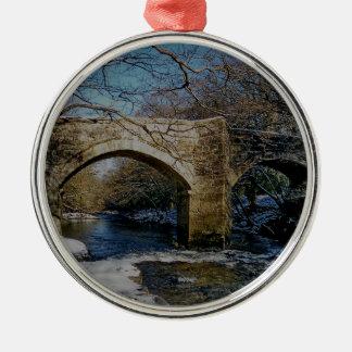 Dartmoor river dart Holne new bridge winter scene Christmas Ornament