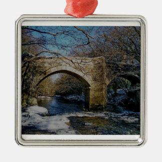Dartmoor river dart Holne new bridge winter scene Silver-Colored Square Decoration