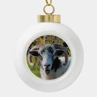 Dartmoor Sheep In Bracken Ceramic Ball Christmas Ornament