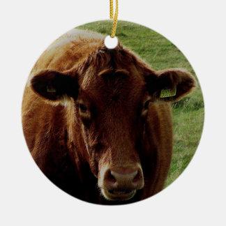 Dartmoor South Devon Cow Round Ceramic Decoration