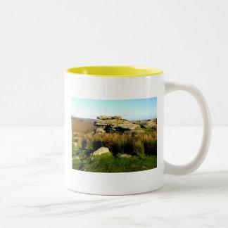 Dartmoor tor in autumn Two-Tone coffee mug