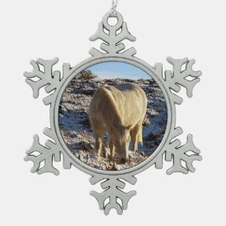 Dartmoor White Pony Grazing In Snow Snowflake Pewter Christmas Ornament