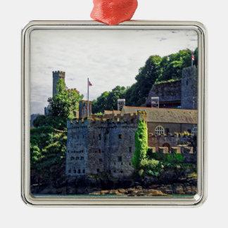 Dartmouth Castle #2, Devon, England Silver-Colored Square Decoration