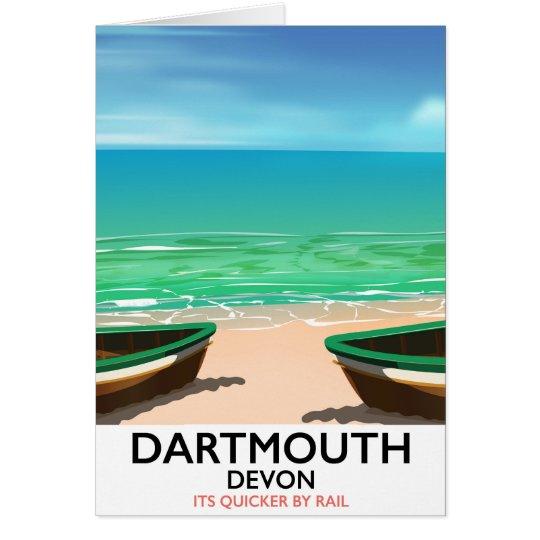 Dartmouth Devon beach poster Card