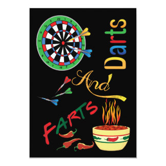 Darts and Farts New Dad Baby Shower 13 Cm X 18 Cm Invitation Card