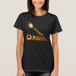 Darts With Golden Dart In Flames With Stylish Text T-Shirt